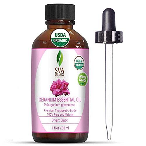 SVA Organics Egyptian Geranium Essential Oil Organic 1 Oz USDA Pure Natural Undiluted Steam Distilled Oil For Skin, Face, Body, Hair, Massage & Aromatherapy