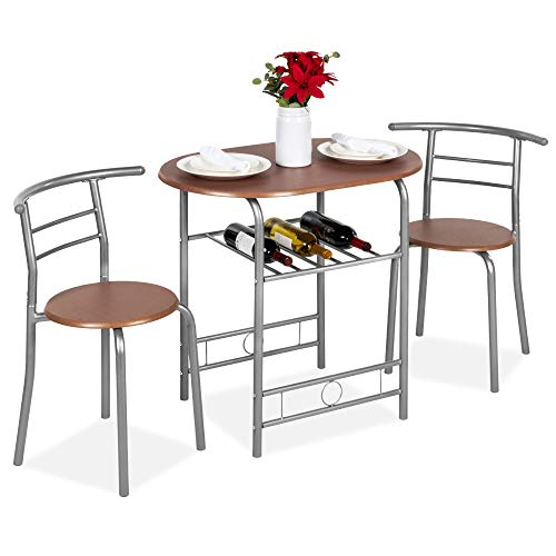 Best Choice Products 3-Piece Wooden Round Table & Chair Set for Kitchen, Dining Room, Compact Space w/Steel Frame, Built-in Wine Rack - Espresso