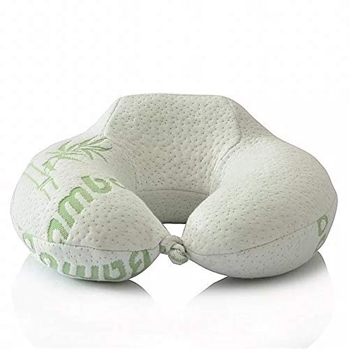 Espuma de memoria almohada de viaje - Almohada for cuello es perfecto for accesorios de viaje esenciales de transporte aéreo puede hacer u-almohada almohada cervical del cuello tejido de fibra de bamb