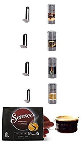 Senseo Typ Espresso + 4 passende Paddosen mit Kaffeemotiven + 4 Padlifter + 2 Espressotassen mit Henkel 100ml