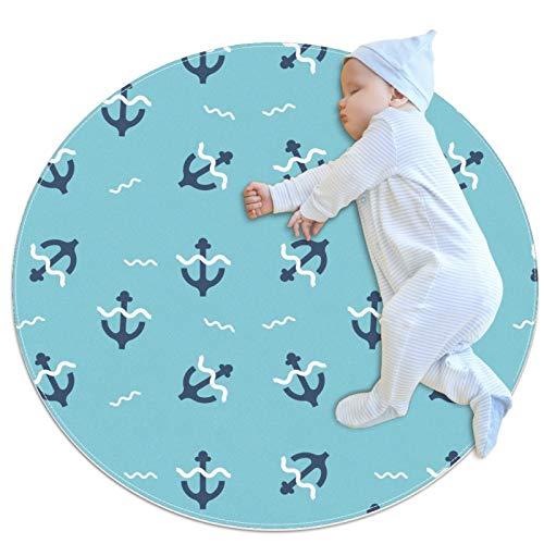 Alfombra redonda con ancla azul y onda, para juegos de bebé, suave, para dormitorio, sala de juegos, decoración del hogar (70 x 70 cm)