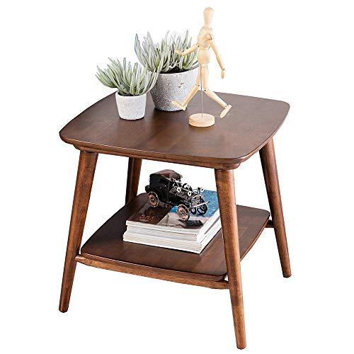 ZR- Tavolino da Salotto con 2 tavolini Quadrati in Rovere Sbiancato, Tavolo da tè in Legno Rovere 55 * 55 * 52CM Mobilia