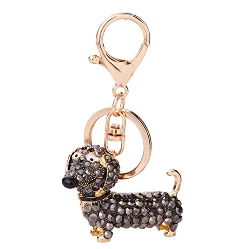 Small Lovely Cute Rhinestone Dachshund Dog Design Keychain Bag Car Key Ring Charm Pendant Best Gifts for Purse
