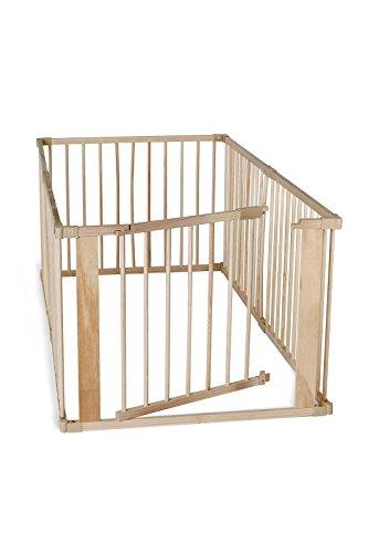 dibea Baby-Laufstall Holz-Laufgitter mit Tür 6 Elemente je 90 x 68 cm