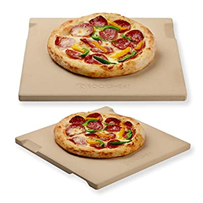 """Pizza Stone Baking & Grilling Stone, Perfect for Oven, BBQ and Grill. Innovative Double - faced Built - in 4 Handles Design (14"""" x 16"""" x 0.67"""" Rectangular)"""