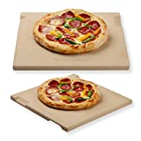 ROCKSHEAT Pizza Stone Bread Baking Stone for Oven and Grill Innovative Double-sided Built-in Design with 4 Handles (30.5 x 30.5 x 1.5cm Rectangular)