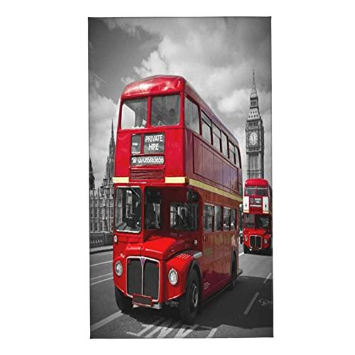 NINEHASA 2 Toallas,London Buses Rojos en el Puente de Westminster,Toalla Microfibra Ultra Suaves y Absorebentes 40x70cm