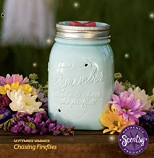 Scentsy Warmer, Chasing Fireflies, Mason Jar Light Blue Firefly Full-size Premium Warmer