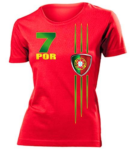 Portugal Fan t Shirt Artikel 3215 Fuss Ball Welt Europa Meisterschaft EM 2020 WM 2022 camisola Trikot Look Flagge Fahne Futebol Frauen Damen M