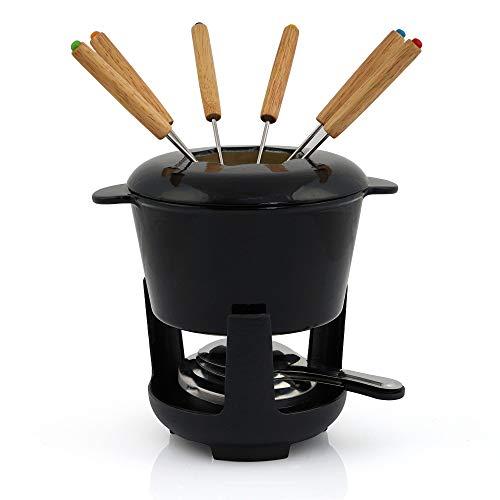BBQ-Toro Gusseisen Fondue Set für 6 Personen Fondueset 13 teilig mit Brenner und Gabeln Füllmenge 1 Liter Käse Schokolade Induktion (schwarz/creme emailliert)