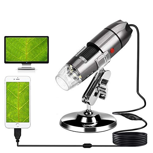 USB Digital Microscope 40X-1000X Handheld Mini Microscope Camera Compatible with Window 7 8 10 Android for Students Engineers Biology Lovers Microbiological Observation, Gray