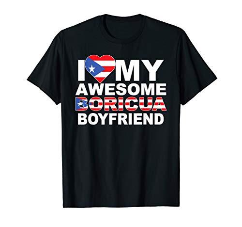 Camiseta Boricua I Love My Boyfriend Puerto Rico Flag T-Shirt