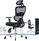 Oline ErgoPro Ergonomic Office Chair - Rolling Home Desk Chair with 4D Adjustable Armrest, 3D Lumbar Support and Blade Wheels - Mesh Computer Chair, Gaming Chairs, Executive Swivel Chair (Black)