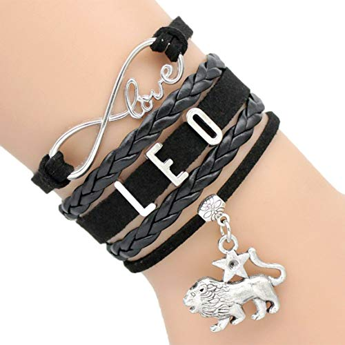 Fashion 12 Constellation Zodiac Sign PU Leather Bracelet Handmade Vintage Letter with Zodiac Pendant for Men Women Bracelets