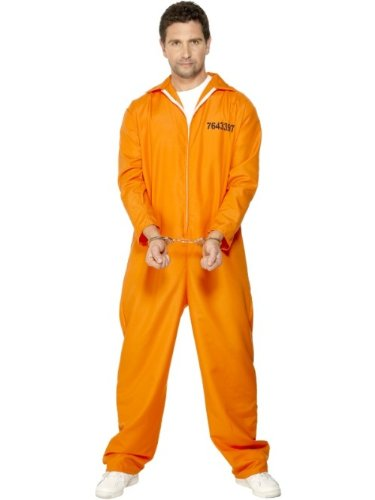 Smiffys Disfraz de Prisionero huido, Naranja, con Enterizo, Color, M-Tamao 38'-40' (29535M)
