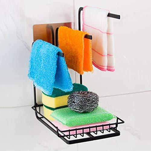 Haushalt Küche Lagerung Lappen Rack Lappen Multifunktions stanzfreie Arbeitsplatte vertikale Lappen Rack schwarz YGDH (Size : 12cm×21cm×25cm)