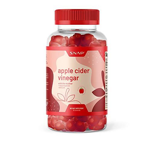 ACV Gummies Apple Cider Vinegar Gummies with The Mother - Gummy Vitamins for Detox & Cleanse, Weight Management, Immunity & Metabolism, Vitamins B12, B9, Pomegranate, Beetroot - 60 Gummies (1-Pack)