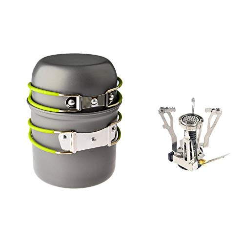 Stealth Angel 4pcs Ultralight Portable Outdoor Pot Pan & Stove Set with Piezo Ignition - Cookware for Backpacking, Camping, Hiking + Other Outdoor Activities