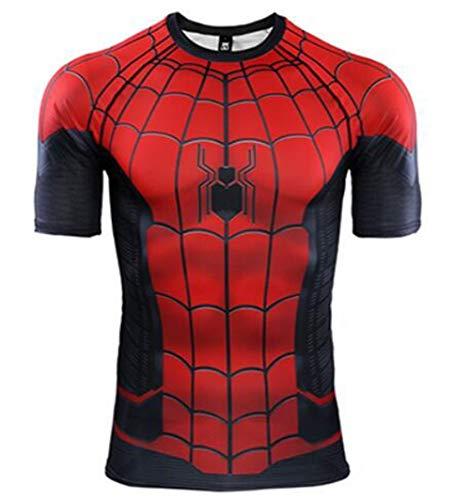 HFJLL T-Shirt Manches Longues de Running Fitness pour Homme - Spiderman Haute élasticité, séchage Rapide,Short,XXL
