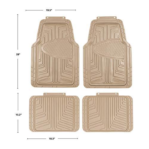 AmazonBasics Lot de 4tapis de sol en caoutchouc pour voitures, SUV et camionnettes Toutes saisons Beige
