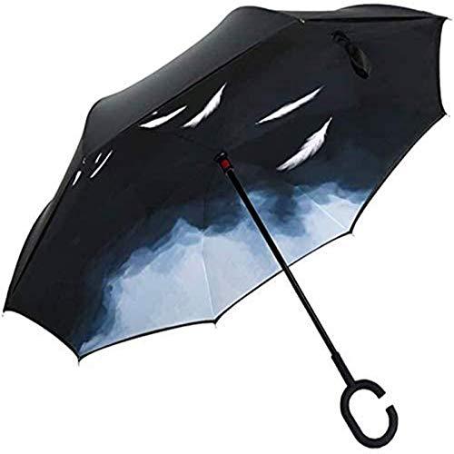 MJMJ Paraguas invertido a prueba de viento invertido paraguas para adultos, hombres y mujeres, mango largo, protector solar al aire libre, paraguas de doble uso, paraguas soleado (tamaño: A)