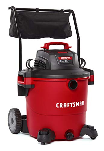 Craftsman CMXEVBE17656 20 Gallon 6.5 Peak HP Wet/Dry Vac with Cart, Heavy-Duty Shop Vacuum with…