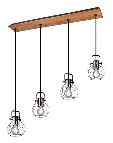 Trio Leuchten Pendelleuchte Madras 305300488, Metall silberfarbig antik, Holz, exklusiv 4x E27