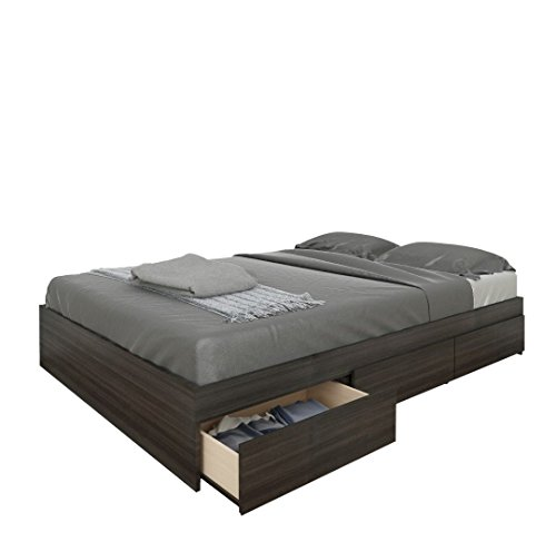 Nexera Allure Full Size Storage Bed, Ebony