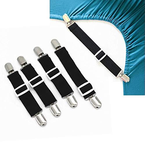 Lesfit Verstellbare Bettlakenspanner, verstellbar betttuchspanner, elastische Lakenspanner mit Metallclip für Bettlaken, schwarz (4 stück)