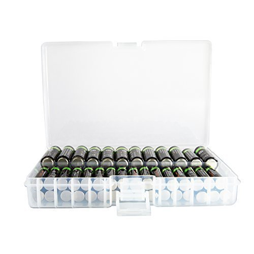 Foto&Tech AA/AAA Battery Storage Box, Rechargeable Battery Storage Case Battery Holder Organizer Box Holds 46 AA or 64 AAA with Hinged Lid Charge Reminder Marking Non-Slip Bottom Sturdy Plastic Clear