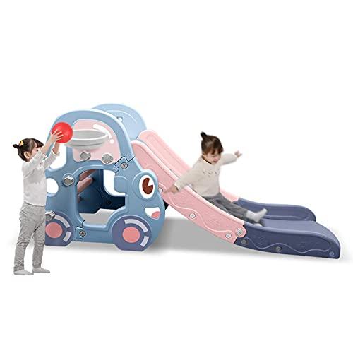 Plegable Escalador Diapositiva, Basketball Hoop Multifunción Combinados Niños Escalador Freestanding Slide Playset Fácil Configuración Interior Al Aire Libre Patio Trasero Patio De Recreo,Azul