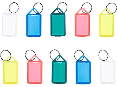 Schlüsselanhänger/Klapp-Anhänger aus Kunststoff mit Ring, aufklappbar und beidseitig lesbar (50 Stück, farbig Sortiert)