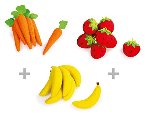 Legler Handelshaus Set Carrots, Strawberries And Bananas from Felt