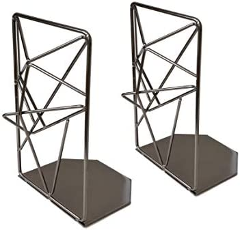 EZDC Space Grey Liquid Metal Bookends Decorative Pair Stereoscopic Decorative Bookends for Shelves product image