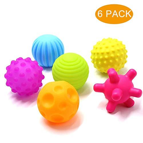 Ucradle Baby Sensorisches Spielzeug, 6PCS Softbälle Buntes Greifball Squeeze Bälle, Weiche Baby Bälle Kleinkinder Beißring, Pädagogisches Spielzeug Badespielzeug