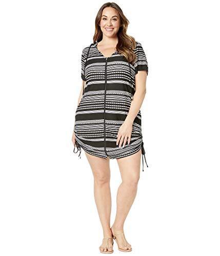 Dotti Plus Size Ibiza Stripe Side Shirred Hoodie Tunic Cover-Up Black/White 1X