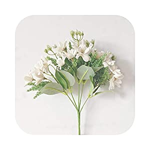 #N/D 15 Heads Bouquet Artificial Magnolia Flowers Silk Flower for Garden Home Decoration Wedding Party Fake Flowers Party Accessories-White