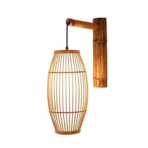 Industrie Stil Bambus Wand-Lampe, Wicker DIY Rattan Lampshade, handgemachte Rattan Wandleuchte E27 Rustic Led Wandlampen-Beleuchtung für Schlafzimmer Flur Restaurant Bar