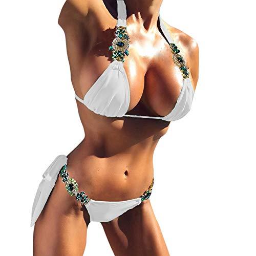 AIVEI Bikini Damen Push Up High Waist Sexy Bikini Set Badeanzug Damen Zweiteiliger Triangel Shape Weiß Bikinis Verstellbar Neckholder Badeanzug Split High Cut Dreipunkt Bikini (Weiß, M)