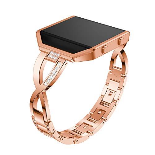 Accken Ersatzarmband für Fitbit Blaze Armband, Edelstahl Metall Ersatzband Fitness Zubehör Handgelenk Armband mit Rahmen für Damen Herren (Rotgold)