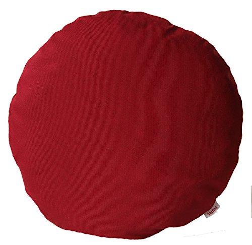 beties Farbenspiel Kissenhülle rund ca. 40 cm Ø Baumwoll-Serie in Uni (Karmin-rot)
