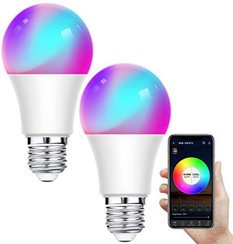 Intelligentes LED-Leuchtmittel, WiFi, dimmbar, 12 W, E27, LED-Lampe, RGB, mehrfarbig, funktioniert mit Alexa, Google Home, IFTTT, Fernbedienung per App, 2 Packungen [Energieeffizienzklasse A+]