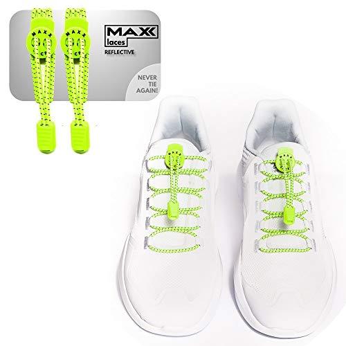 MAXX laces - Reflective | Elastische Schnürsenkel mit Schnellverschluss ohne Binden | komfortable Schuhbinden | einfach zu bedienen | Passt zu jedem Schuh (Gelb neon Reflective)