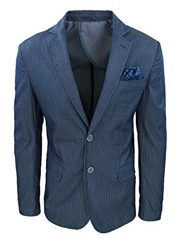 Evoga Giacca Uomo Elegante gessata Slim Fit Blazer Cerimonia (m, Blu)