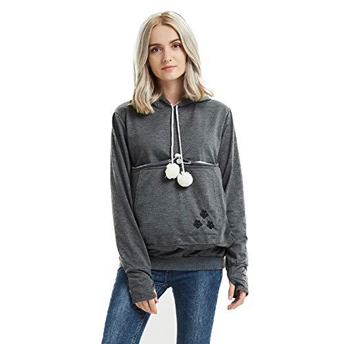 Women Pet Pouch Hoodie Sweatshirts - Kangaroo Holder Shirt Kitten Puppy Carrier Pullover Hoodies for Women Dark Grey