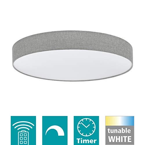 EGLO LED Deckenleuchte Romao, 1 flammige Deckenlampe aus Stahl, Kunststoff, Textil in weiß, grau, mit Fernbedienung, Farbtemperaturwechsel (warm, neutral, kalt), Nachtlicht, dimmbar, Ø 76 cm
