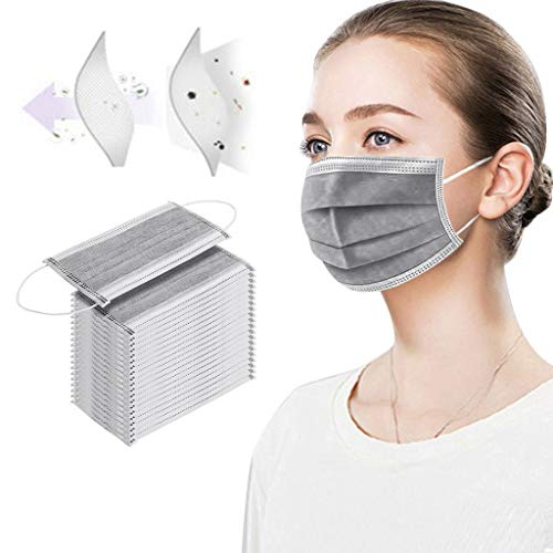 Hardcover Disposable Face Macks, 3Ply Windproof Mouth Activated Carbon Mack, Pack of 50 pcs (Gray)