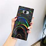 Urhause Glitter Funda Compatible con Samsung Galaxy S8 Silicona Gelatina Suave Ligera Gel Carcasa Case Láser Colorido TPU Funda Ultrafina Flexible Anti-Choque Anti-Arañazos Bumper,Negro