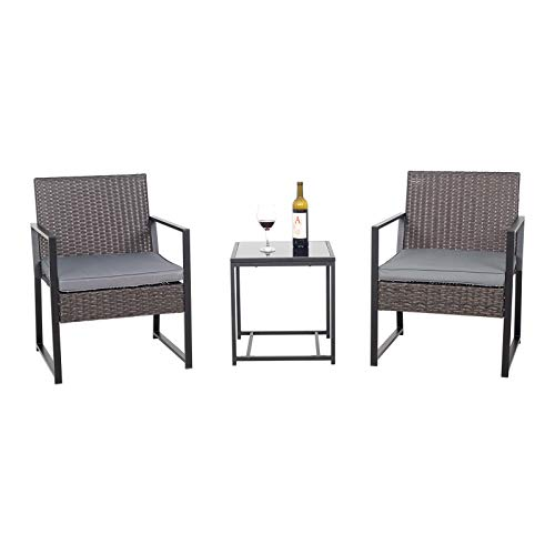Wicker Rattan Conversation Lounge Set with Grey Cushions and Glass Side Table
