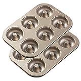 GEZAN 12 Cavity Non Stick Donut Baking Pan - High-grade Carbon Steel Molding Tray Pans - Non-stick...
